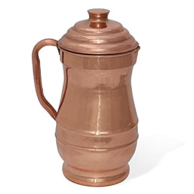 Dungri India ® Best Quality Pure Copper Maharaja Jug Water Pitcher Handmade Indian Copper Utensils for Ayurveda Healing