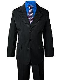 Big Boys' Pinstripe Suit Set Black