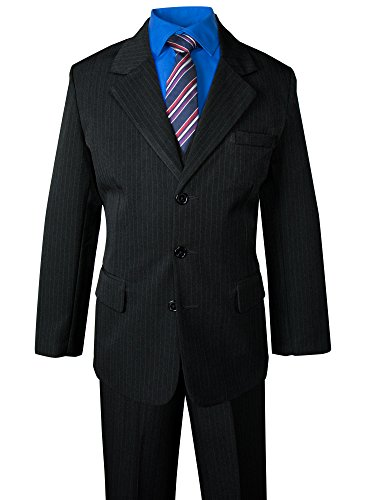 Black Pinstripe Pant Suit (Spring Notion Big Boys' Pinstripe Suit Set Black-Navy Burgundy Stripes 7)