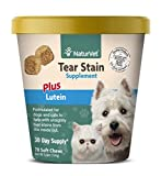NaturVet - Tear Stain Plus Lutein - Eliminates Unsightly Tear Stains - Enhanced with Cranberry Extract, Marshmallow Root & Oregon Grape Root - for Dogs & Cats - 70 Soft Chews