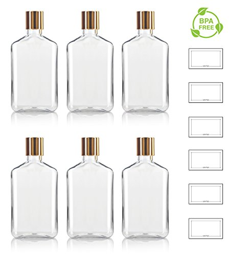8 oz / 250 ml Clear PET (BPA Free) Plastic Oblong Flask Style Refillable Bottle with Gold and White Disc Cap Tops (6 pack) + Labels