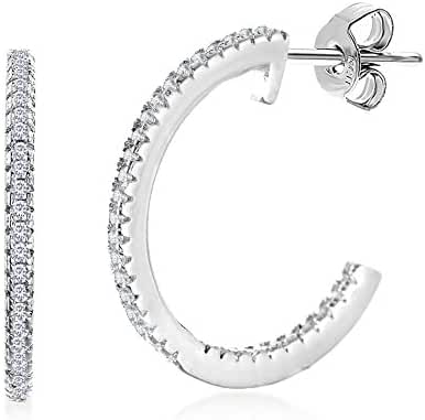 Silver Rhodium Plated Sterling Silver Cubic Zirconia In & Out Hoop Earrings 3 Sizes