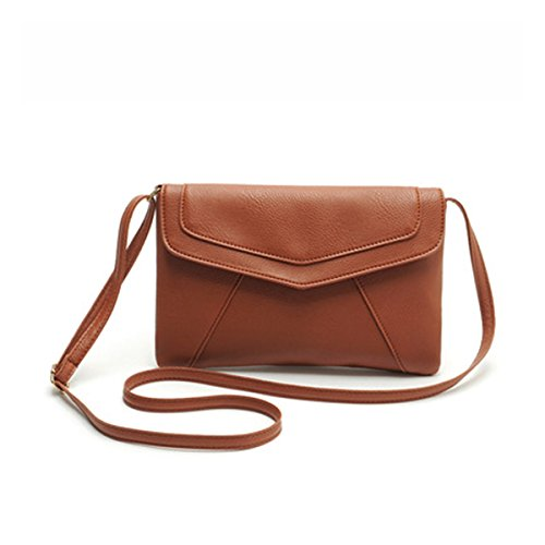 ZOONAI Womens Small Leather Envelope Crossbody Shoulder Bag (Light Brown Leather Bag)
