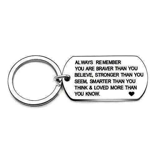 Stainless Steel Key Chain Ring You are Braver Stronger Smarter Than You Think Pendant Family Friend Gift (Style B Stainless -