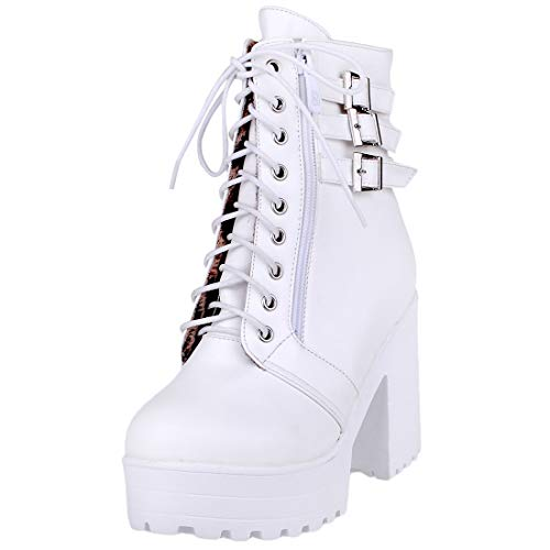 Heel Vitalo Womens Up White Buckle Ankle Boots Winter Chunky Lace Zip Shoes Up Platform Autumn dr14qIrw