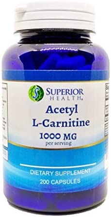 Acetyl L-Carnitine 1000mg Per Serving 200 Capsules Natural Energy, Cognitive and Nervous System Support Supplement ALCAR