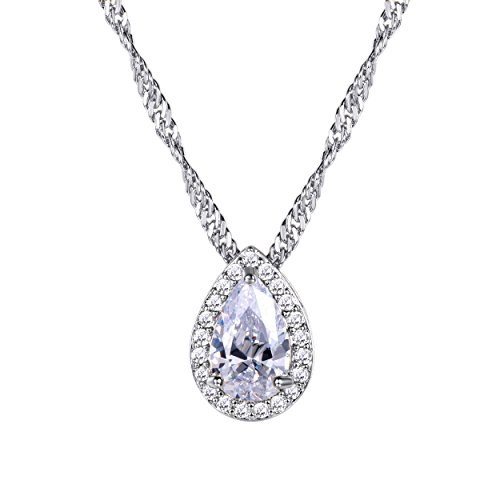 Pearl-shaped Briolette Cubic Zirconia Teardrop Pendant Necklace with Water Wave Chain, Platinum Plated Crystal Bridal/Wedding Necklace (Necklace Briolette Drop)