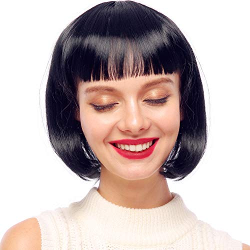 Starcourtyard Women's Black Short Wigs with Bangs for Women Halloween Party Cosplay Costume Wig ()
