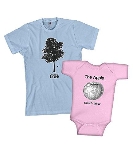 Girls Apple Tree - Threadrock Apple & Tree Infant Bodysuit and Men's T-shirt Set (Baby: 6 Months, Pink|Men's: Large, Light Blue)