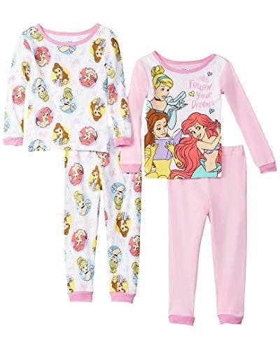 Princess Four - Disney Baby Girls Multi-Princess 4-Piece Cotton Pajama Set, Dream White, 18M