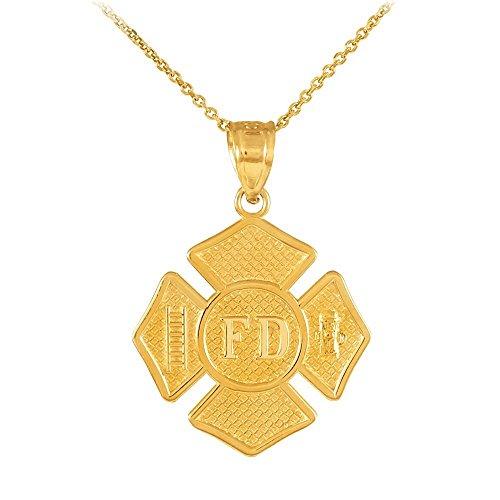 14k Gold St Florian Medal Firefighter Badge Pendant Necklace, (14k Firefighter Pendant)