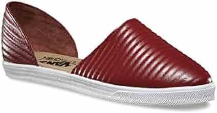f8f2a805fe19b2 Vans Women s Slip-On Skimmer (Moto Leather) Madder Brown Athletic Slide  Sandals (
