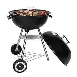 SunJas BBQ Barbecue Grill Griglia Carbone BBQ in Ferro Giardino Barbecue Grill con 2 Vassoio (46×44×70 cm) 2 spesavip