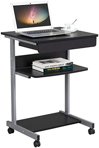 Topeakmart Mobile Compact Computer Desk Cart
