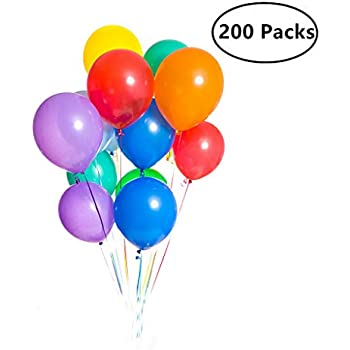 200 Pieces Assorted Colored Balloons Bulk 12 Inches Latex Helium For Birthday Party Decorations Wedding Arch Supplies