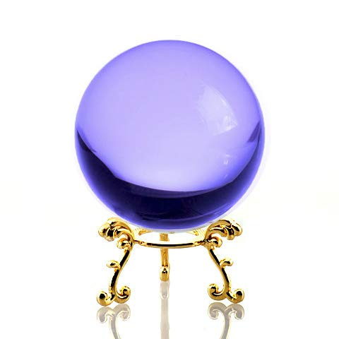 Amlong Crystal Purple Crystal Ball 60mm (2.3 inch) Including Golden Flower Stand and Gift Package
