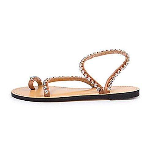Rhinestone clip de del del brown verano planas talón dedo ZHZNVX del del simples del del del sandalias pie la pie playa sandalias del Nuevas dedo xPaCwqHY