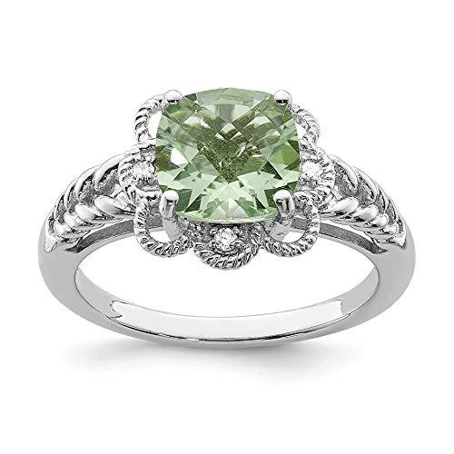 Cushion Ring Bow Cut Diamond (Green Quartz & .04 Ctw (H-I Color, I2-I3 Clarity) Diamond Scalloped Sterling Silver Ring, Size 10)