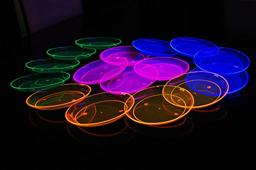 Blacklight Reactive Party Plates with FREE Blacklight Balloons