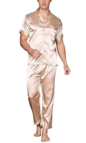 Colletto Retro Pigiama Estivo Raso Lungo Ragazzi Classiche Uomo Te Con Pezzi Da Oro Camicia Taschino Stampa Due 77qRSFnr