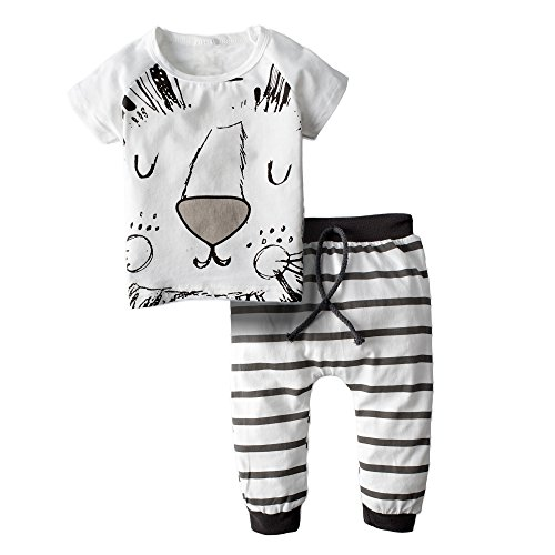 BIG ELEPHANT Baby Boys  2 Piece Cute Lion Short Sleeve Pants Clothing Set H79 Lion 0-3 Months - Newborn Boys 2 Piece Overall