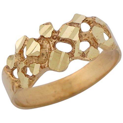 14k Yellow Gold Diamond Cut Gold Nugget Style Unisex Wide Band - Gold 14k Nugget Yellow