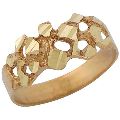 14k Yellow Gold Diamond Cut Gold Nugget Style Unisex Wide Band - 14k Yellow Gold Nugget