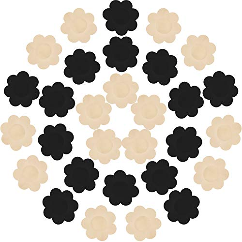 (30 Pieces Nipple Cover Plum Shaped Disposable Breast Covers Self-adhesive Petal Bra Pasties (Black and Skin))