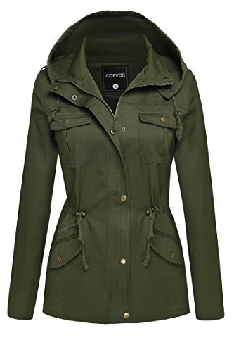 ACEVOG Womens Winter Military Anorak Hoodie Coat Jacket Outerwear Overcoat (XL, Army Green(FBA))