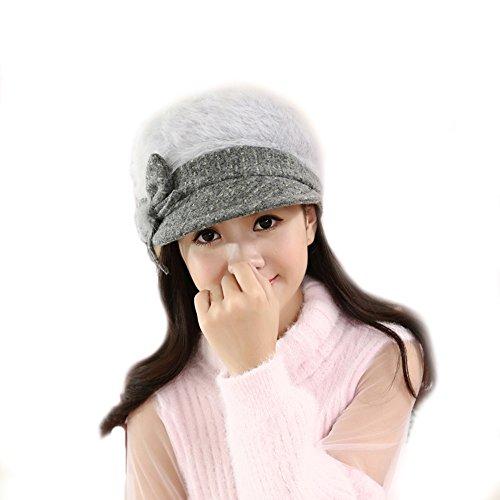 [EKIMI Women Lady Fashion Winter Warm Crochet Knitted Hat (Gray)] (Hip Hop Felt Hat With Feather)