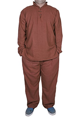 Mens Pajama Set with T-Shirt and Pajama Pant Sleepwear Set brown -Size S