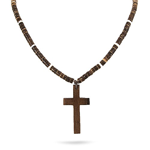 JewelryVolt Wooden Beaded Christian Necklace with Cross Pendant (Brown)