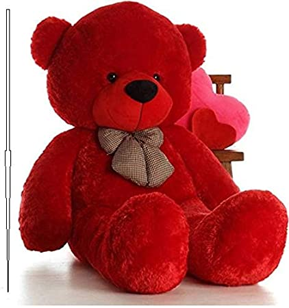 MSFI, Soft Push Stuffed Jumbo Teddy Bear, Height 4 feet in Red Color All Occasions Including…