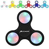 Fidget Hand Finger Spinner, Accmor EDC Toys with Battery Replaceable LED Lights Helps Stress Reducer Relieves ADHD Anxiety for Kids & Adults?Black?