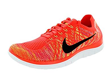 Men's Nike Free Flyknit 4.0 Bright Crimson Volt Black Sneakers : Q42v7240