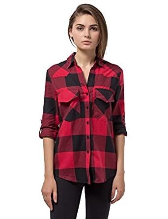 Women's Plaid Flannel Shirt Red & Black Checkered Long Sleeve ...