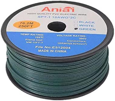250 Electrical Wire for Light and Lamp Extension Cable Aniai UL List 18 Gauge SPT-1 Zip Cord Spool White