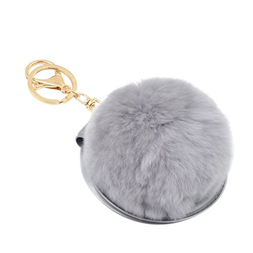 Ztl Folding Cosmetic Mirror + Plush Fur Ball Keychain Key Ring Bag Charm Pendant (Mirror Ball Keychain)