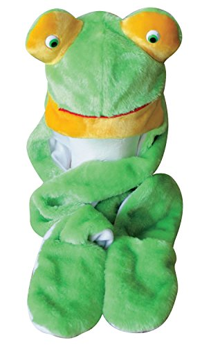(Choose From Over 25 Animals! - Plush Faux Fur Animal Critter Hat Cap - Soft Warm Winter Headwear - Short with Ear Poms and Flaps & Long with Scarf and Mittens Available (Long Frog))