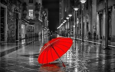 Pareti Con Foto In Bianco E Nero : Bianco e nero città ombrello rosso tela artistica da parete con