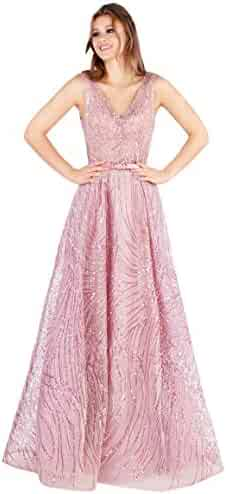 2ef1cfb2341d Mac Duggal Prom - A-Line Plunging Neckling Beaded Rose Pink Prom Dress  Evening Gown
