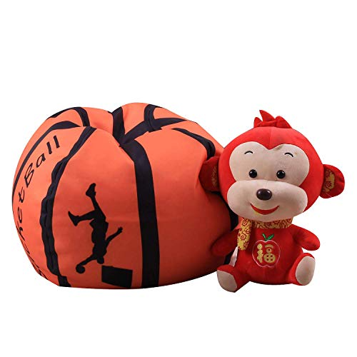 (Stuffed Animal Storage Bean Bag Family Large Kid's Toy Organizer & Comfortable Beanbag Chair Multipurpose Ball Storage Bag Space Saving for Blankets Teddy Bears Clothes Bedding (Basketball,)