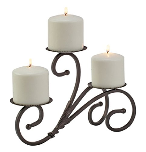 Biedermann & Sons Metal Scroll Tri Pillar Candle Holder H963