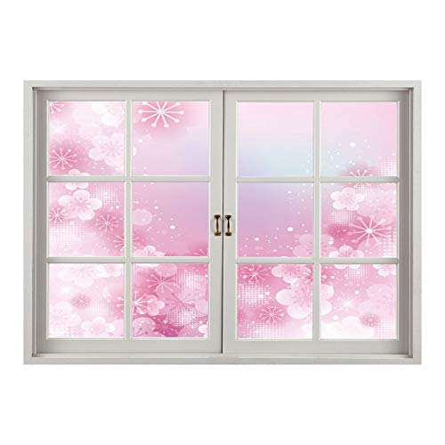 SCOCICI Wall Mural, Window Frame Mural/Light Pink,Magical Hazy Asian Garden in Full Blossom Japanese Apricot Flowers Dots,Light Pink White/Wall Sticker Mural (Happy Dots Apricot)