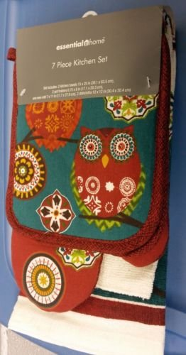 The Pecan Man Home Collection KABASH OWL Everyday Kitchen Set of 7 2 POT HOLDERS, 1 OVEN MITT,2 DISHCLOTHS & 2 TOWELS