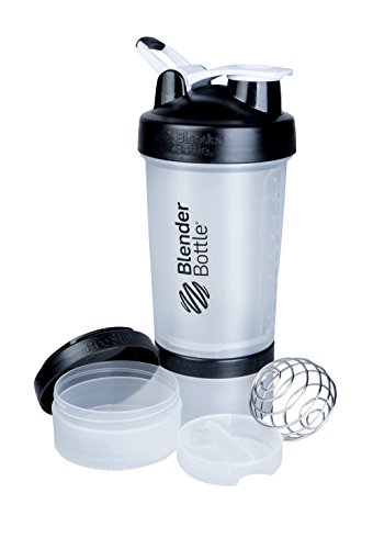 BlenderBottle ProStak System with 22-Ounce Bottle and Twist n' Lock Storage, Clear/Black ()