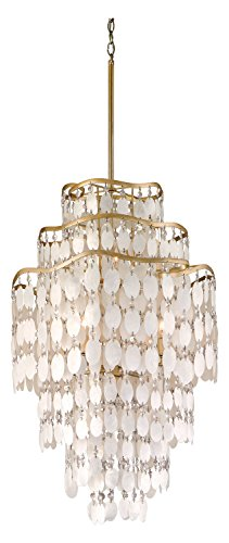 Champagne Leaf Dolce 7 Light Pendant with Hand Crafted Iron Frame and Authentic Capiz Shell Accents