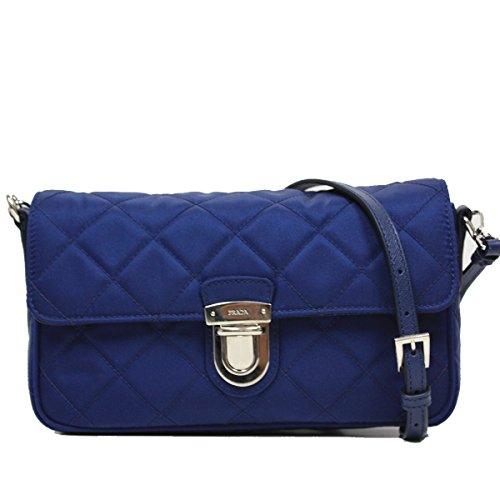 Prada Tessuto Impuntu Pattina Quilted Nylon Shoulder Bag BT1025, Royal Blue (Blue Prada Handbag)