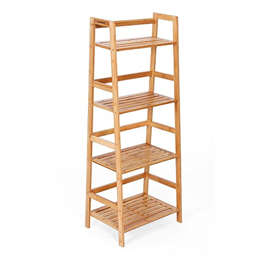 SONGMICS Bamboo Ladder Bookcase 4 Shelf, Natural ULBR04Y