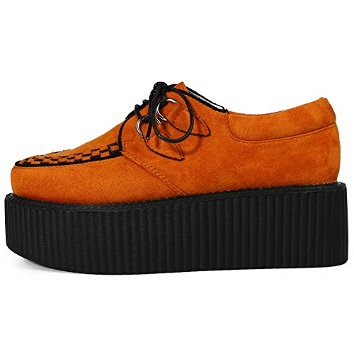 Punk Gothique Chaussures Plateaforme Cuir Creeper Orange Oxfords Femmes Lacets Roseg wSAf7S